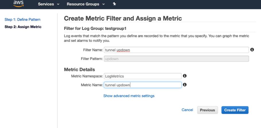 Create a Metric filter