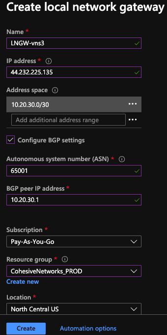 Creating an Azure Local Network Gateway for BGP