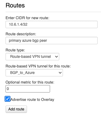 Creating a VNS3 route to primary BGP peer