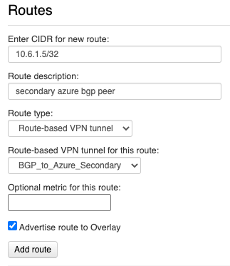 Creating a VNS3 route to secondary BGP peer