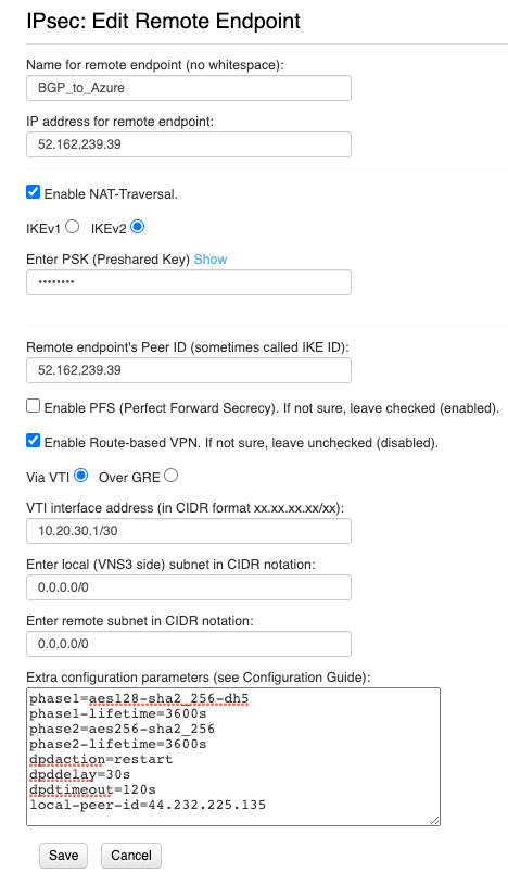 VNS3 IKEv2 endpoint configuration