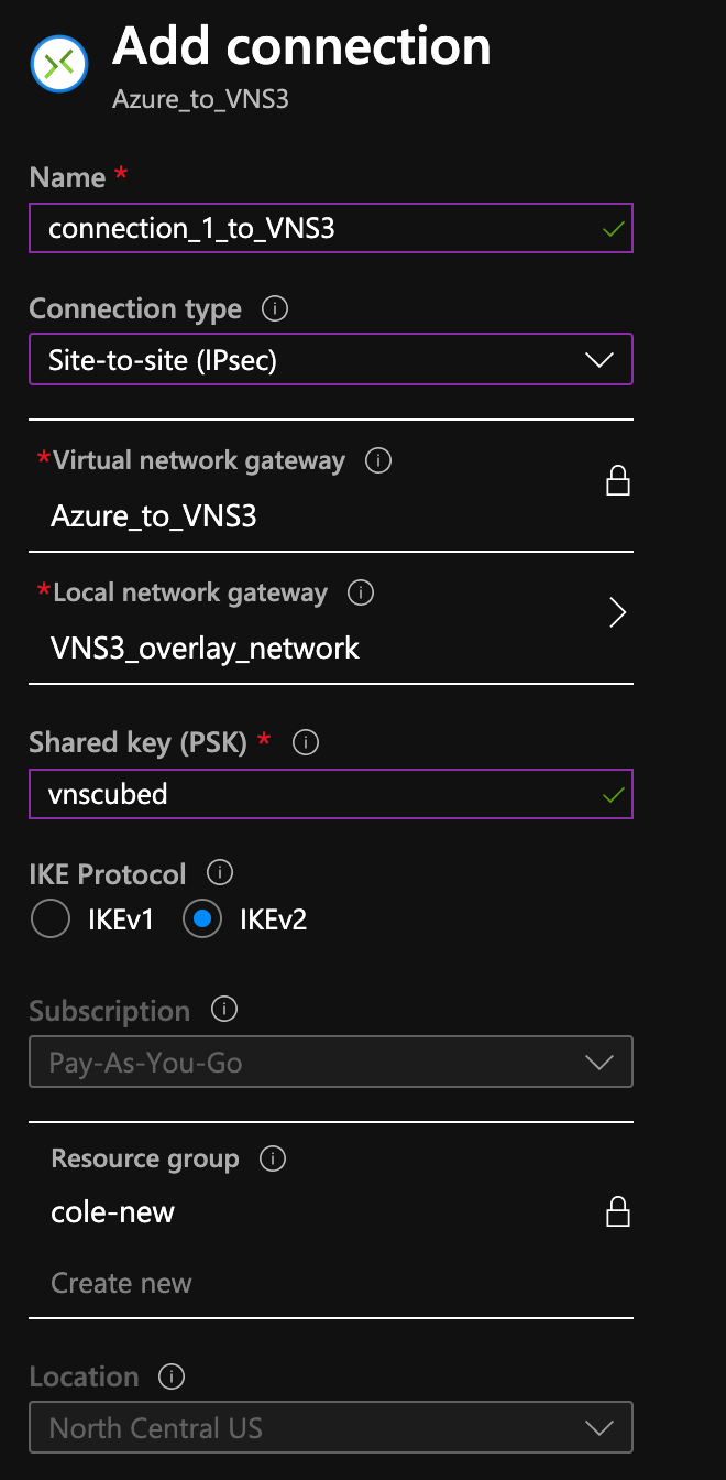 Creating a VpnGw1 connection