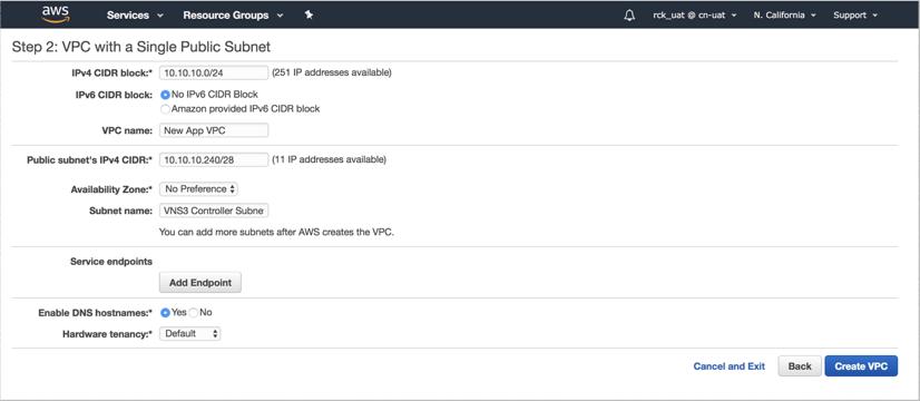 VNS3 Cloud Setup AWS Create VPC 2 Page