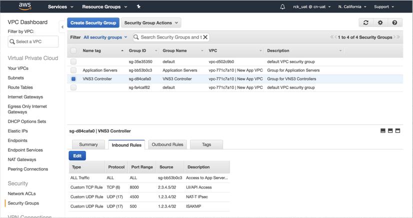 VNS3 Cloud Setup AWS SecGroup Op 1