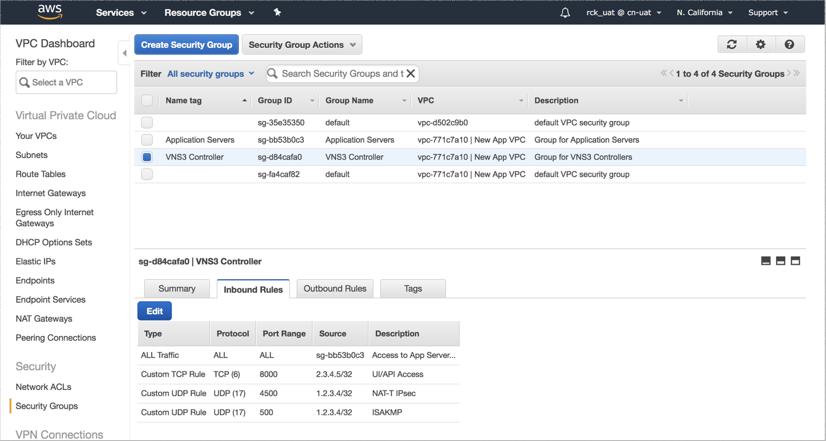VNS3 Cloud Setup AWS SecGroup Op 2