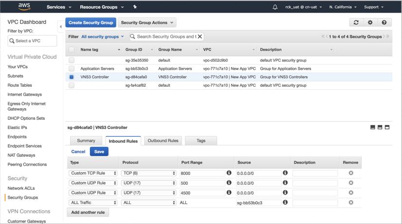 VNS3 Cloud Setup AWS Sec Grp 1