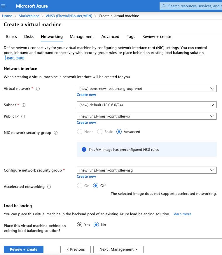 VNS3 Cloud Setup Azure network vm