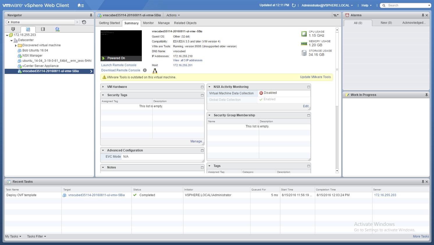 VNS3 Cloud Setup IaaS Vmware console