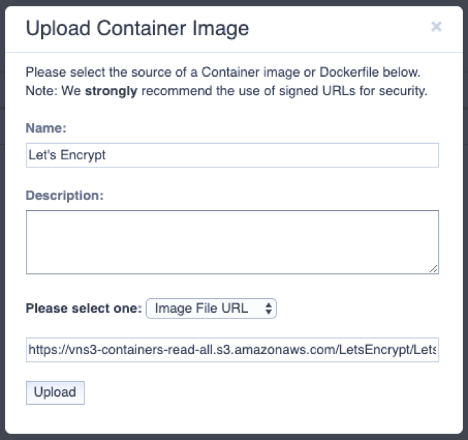 Uploading the Container Image to VNS3