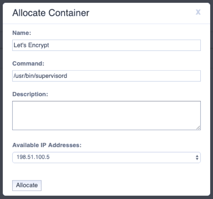 Launching the Let's Encrypt Container