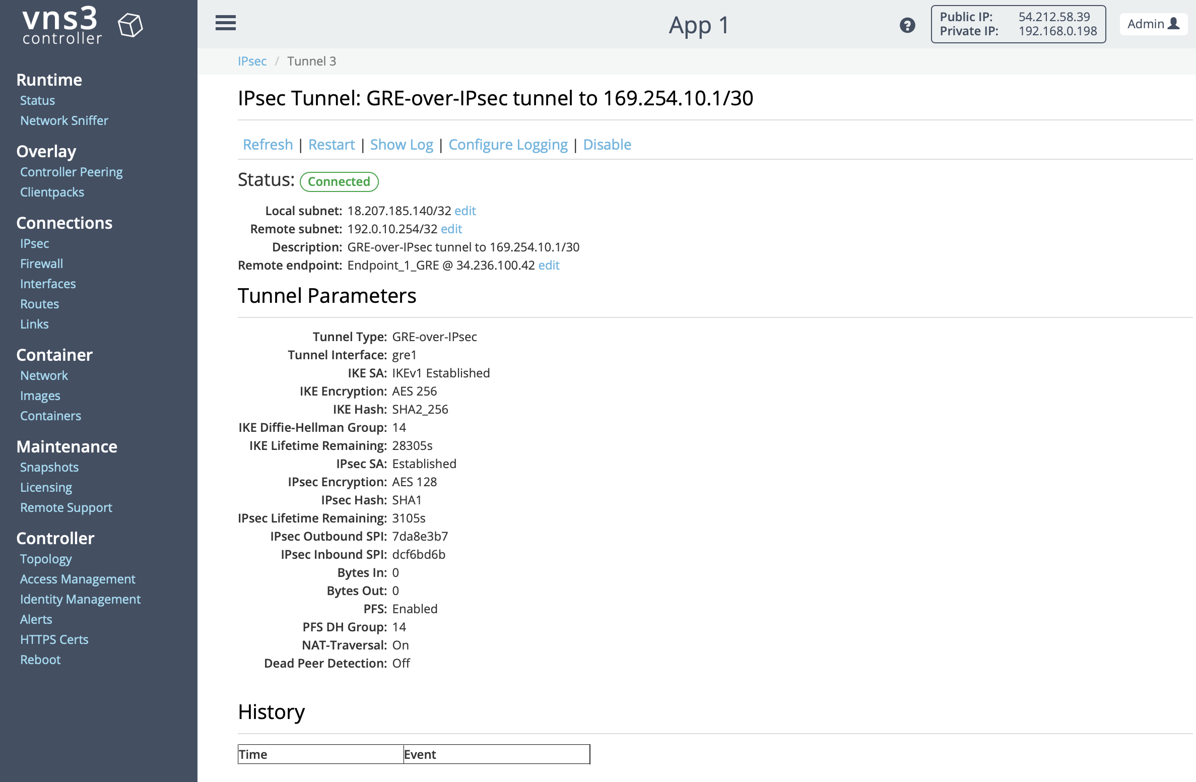 VNS3 Config IPSec GRE Tunnel Page
