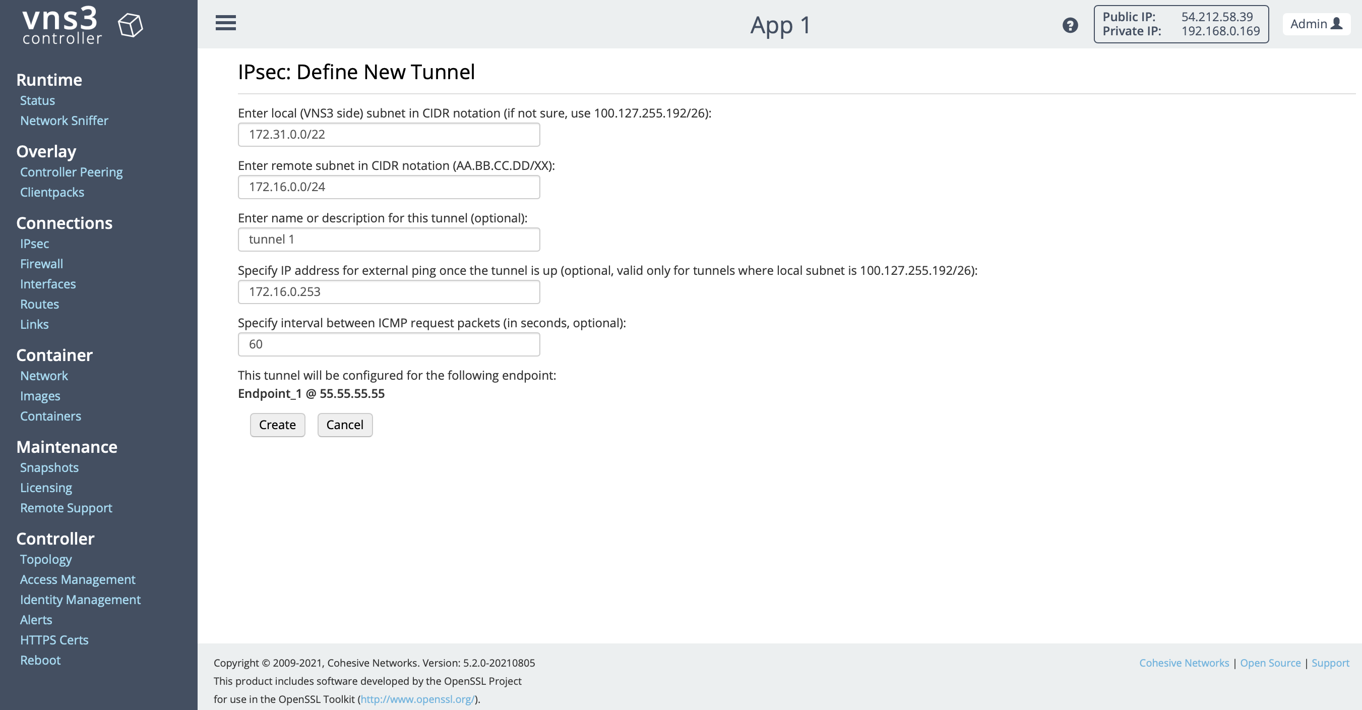 VNS3 Config IPSec Policy Tunnel 1