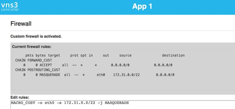 VNS3 Admin Firewall NAT UI