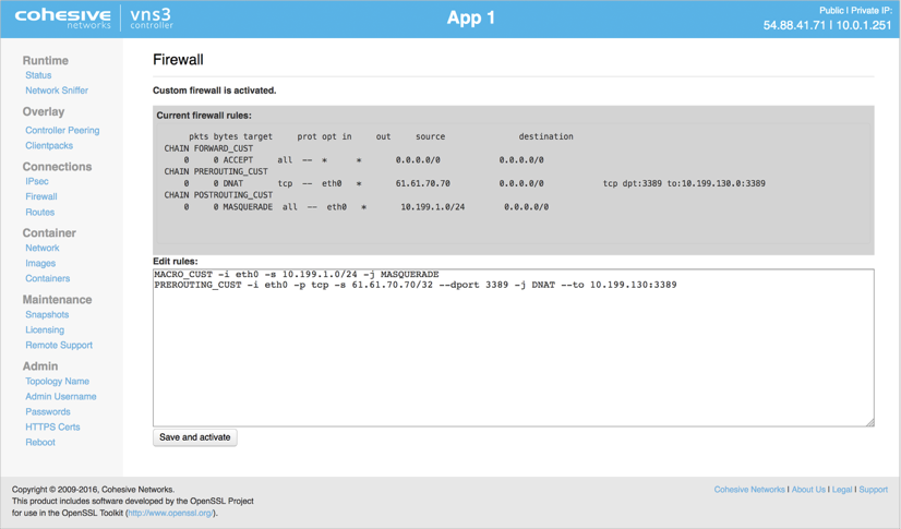 VNS3 Admin Firewall Port Forward UI
