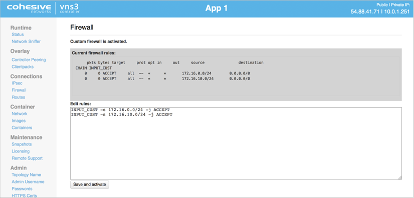 VNS3 Admin Firewall Rules UI