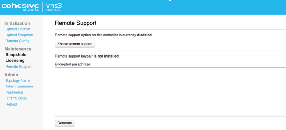 VNS3 Admin Remote Support UI