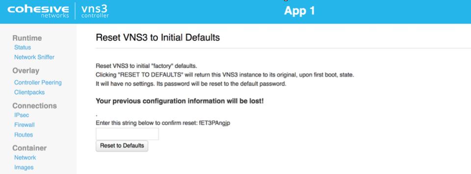 VNS3 Admin Reset Defaults UI