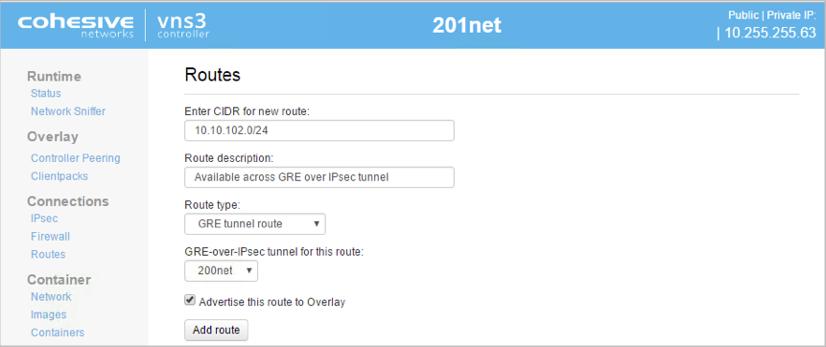 VNS3 Admin Route GRE UI