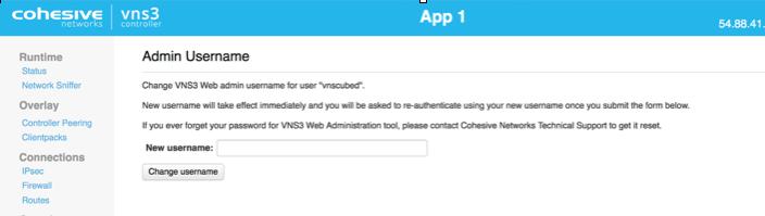 VNS3 Admin Username UI