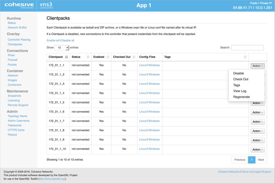 VNS3 Config Clientpacks Actions Dropdown