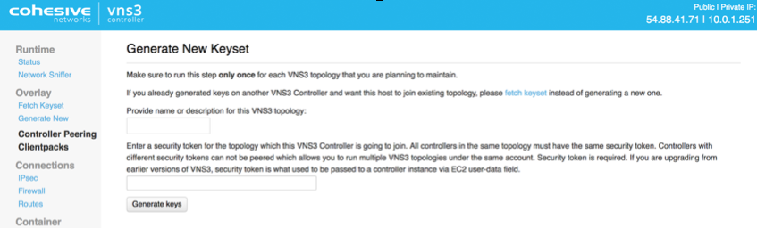 VNS3 Config Gen Keyset Page
