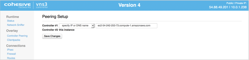 VNS3 Config Peering Set 2 page