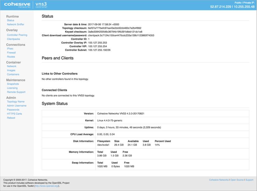 VNS3 Lite Status Page