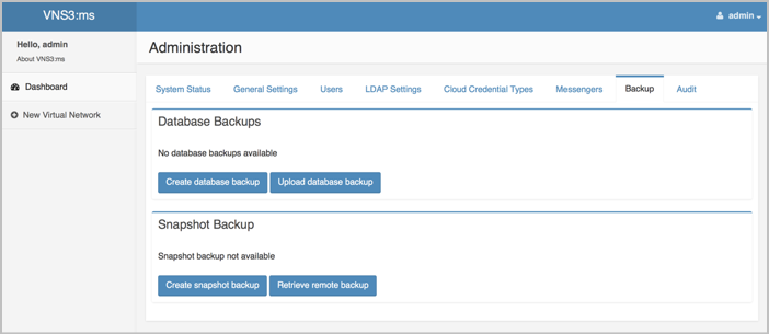 VNS3 MS Admin Backup Image