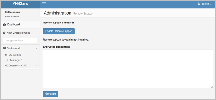 VNS3 MS Remote Support Page