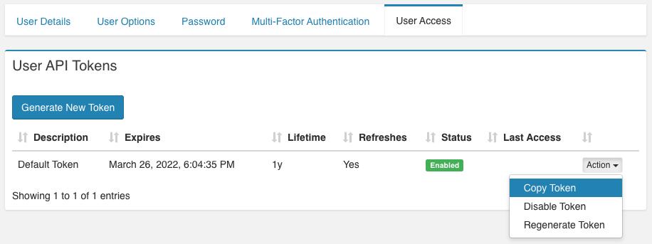 VNS3ms API Tokens
