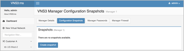 VNS3 MS Manage Controller Snapshots UI