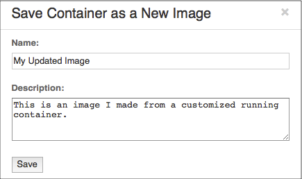VNS3 Container Save Form